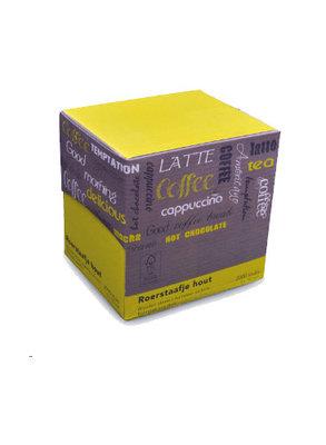 roerstaafjes Limetta hout in dispenserdoos 2000 stuks