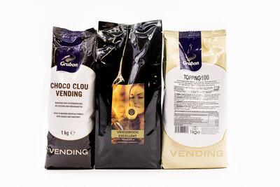 KST Voordeelpakket Excellent - 1 Zak KST Vriesdroog Excellent Koffie 500gram - 1 zak Grubon Topping 100 1kg.- 1 zak Cacao Choco Clou Vending 1kg.