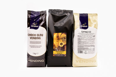 KST Voordeelpakket-Fresbrew Robust -1 Zak KST Freshbrew Robust Koffie 1kg. -1 zak Grubon Topping 100 1kg.- 1 zak Cacao Choco Clou Vending 1kg.