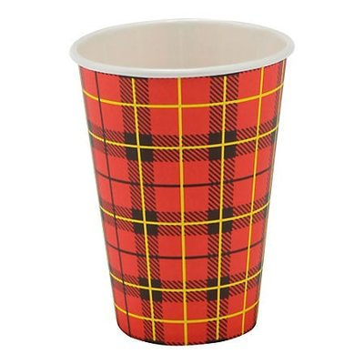 Koffiebeker Karton Schotse ruit Scotty 180cc rol 100 stuks
