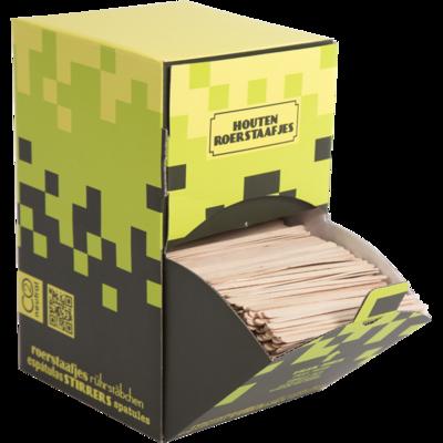 roerstaafjes hout in dispenserdoos 2000 stuks